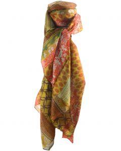 Zijden sjaal/stola met mixed print in goud-geel