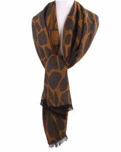 Sjaal met cheetah print in okergeel en grijs