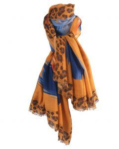 Okergele sjaal met panterprint en grafisch design