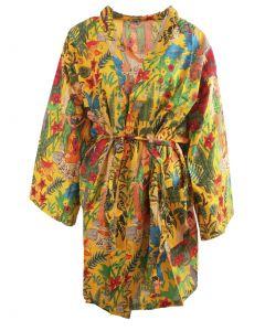 Korte okergele katoenen kimono met Frida Kahlo print