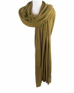 Kasjmier-blend sjaal/omslagdoek in olijfgroen