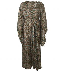 Lange zijden kimono met klokmouwen in olijfgroen