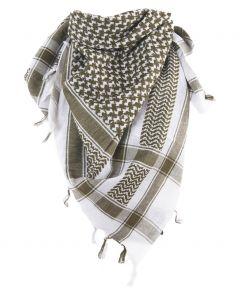 Arafat sjaal in legergroen en wit