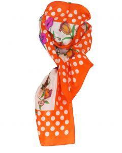 Oranje zijden sjaal met stippen- en bloemenprint