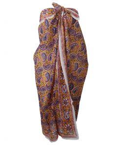 Katoenen sarong in warm-geel met paisley print