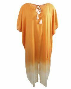 Lange kaftan in zacht-oranje met kwasten franjes