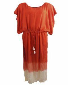 Lange kaftan in donker-oranje met kwasten franjes