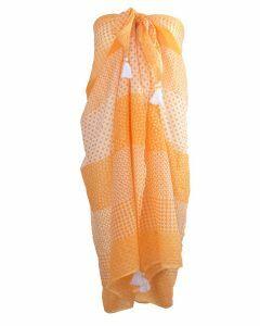 Oranje pareo met diverse prints