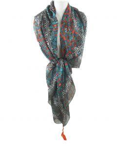 Turquoise zijden sjaal met zigzag- en bloemenprint