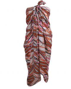 Satijnen sarong met oranje-roze grafische print