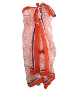 Oranje pareo met bloemenprint en kwasten franjes