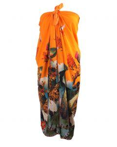 Oranje pareo met pauwenprint