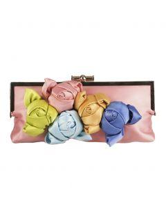 Oudroze satijnen avondtasje met vijf rozenknoppen