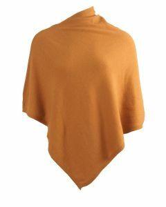 Kasjmier-blend poncho in okergeel