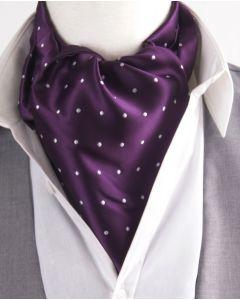 Paarse Ascot Cravat met witte stip