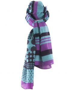 Zijde-blend sjaal in paars en turquoise