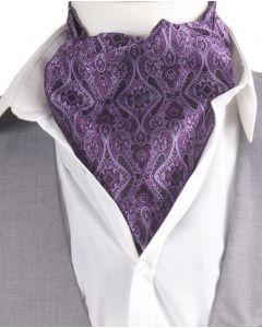 Cravat + pochet met in paars