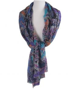 Wol-zijdeblend sjaal met paisley print