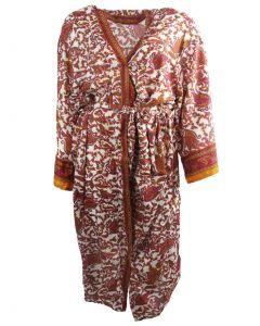 Lange zijde-blend kimono met paisley print roze en okergeel