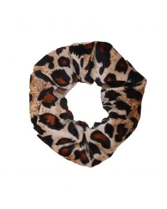 Velvet Scrunchie met panterprint in ecru