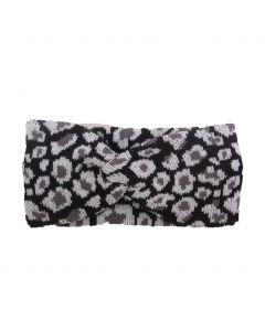 Haarband met panterprint in zwart