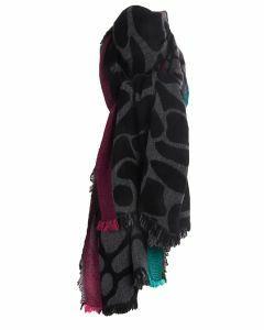 Sjaal met cheetah print in zwart-grijs