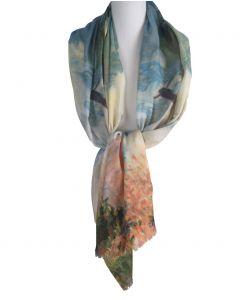 Sjaal met afbeelding van 'Vrouw met parasol'' van Monet