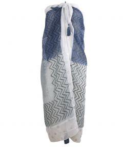Sarong met mixed design- en kleurverloop in grijs-blauw