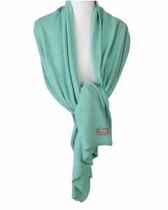 Kasjmier-blend sjaal/omslagdoek in zeegroen