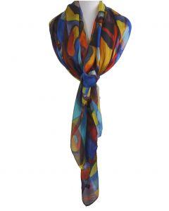 Zijden sjaal/stola met kleurrijke modern art print