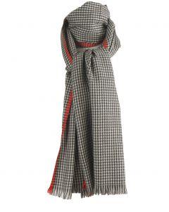 Wollen sjaal met geweven Pied-de-poule patroon