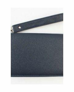 Effen donkerblauwe zip-around portemonnee