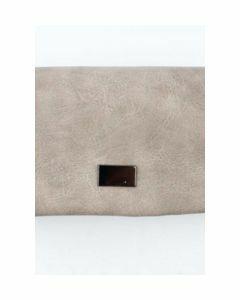 Taupe kleurige portemonnee met metallic detail