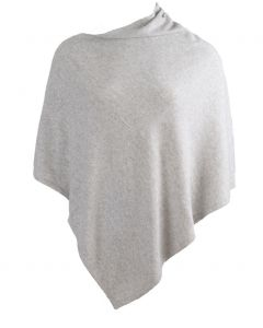 Kasjmier-blend poncho in lichtgrijs