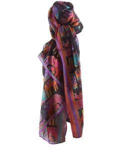 Zijden stola/sjaal met print van katten door Laurel Burch