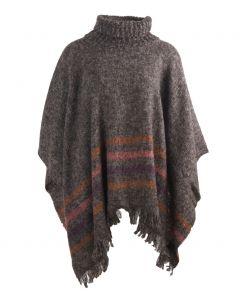 Bruin-grijze gemêleerde poncho met kol en franje
