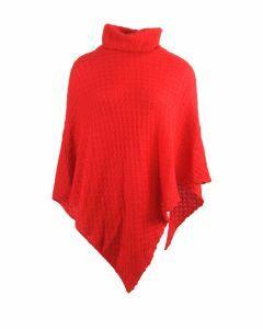Rode ajour-gebreide poncho met kol
