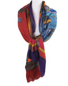 Wol-zijden mousseline sjaal met kettingen print