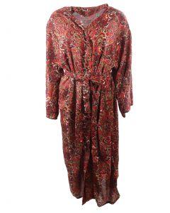 Lange zijden kimono met rode paisley print