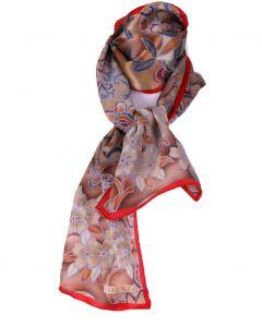 Rood/ bruine satijn zijden sjaal met bloemenprint