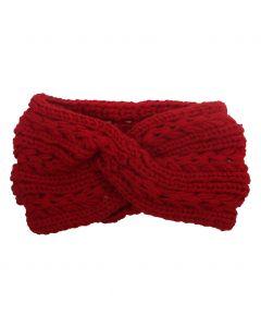 Gebreide haarband in rood