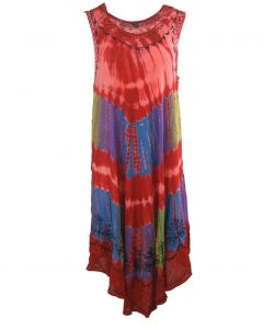 Rode strandjurk met tie dye print