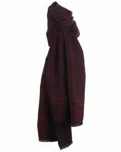 Zachte wol-blend sjaal met ruiten in grijs en zwart