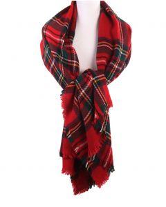Geruite XL sjaal/omslagdoek in rood en groen