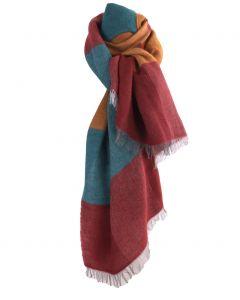 Fijn geweven sjaal met kleurvlakken in okergeel en rood