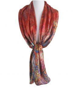 Rode zijde sjaal met vlinder -en bloemenprint