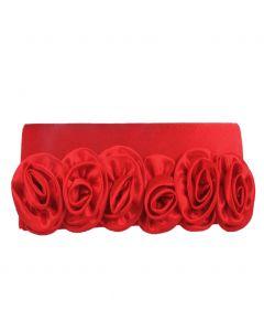 Rood satijnen avondtasje met rozen