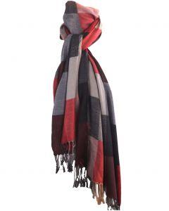 Pashmina sjaal met kleurvlakken in rood en beige