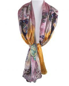 Zijden sjaal met print ''The Women Friends'' van Gustav Klimt