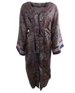Lange donkerblauwe zijde-blend kimono met paisley print in roze